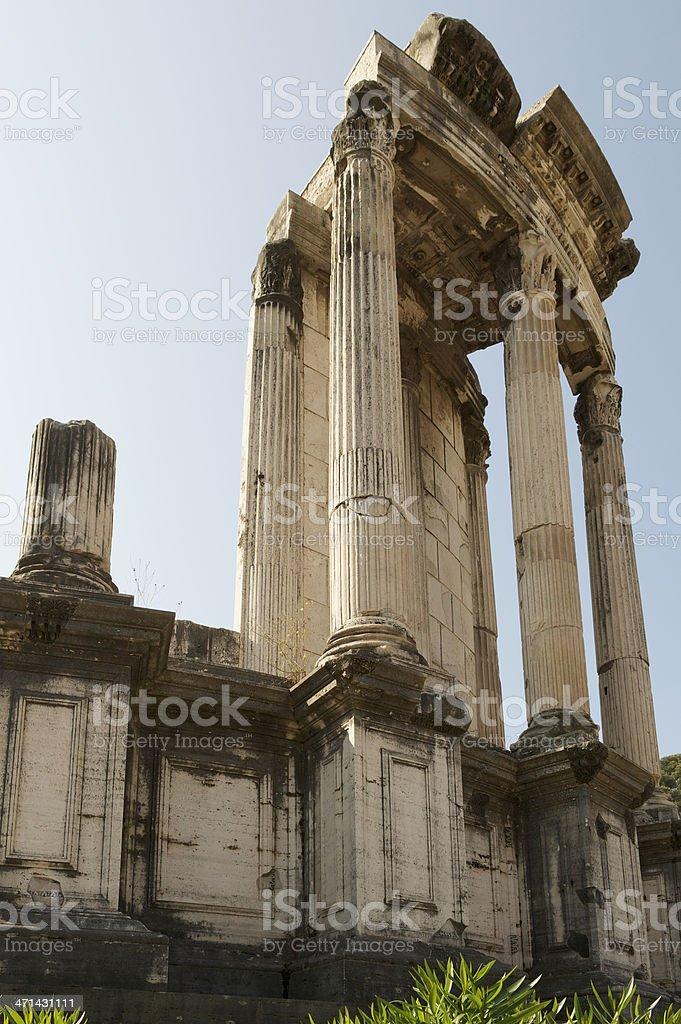 Vesta Temple in Roman Forum near Colosseum and Palatine Hill stock photo