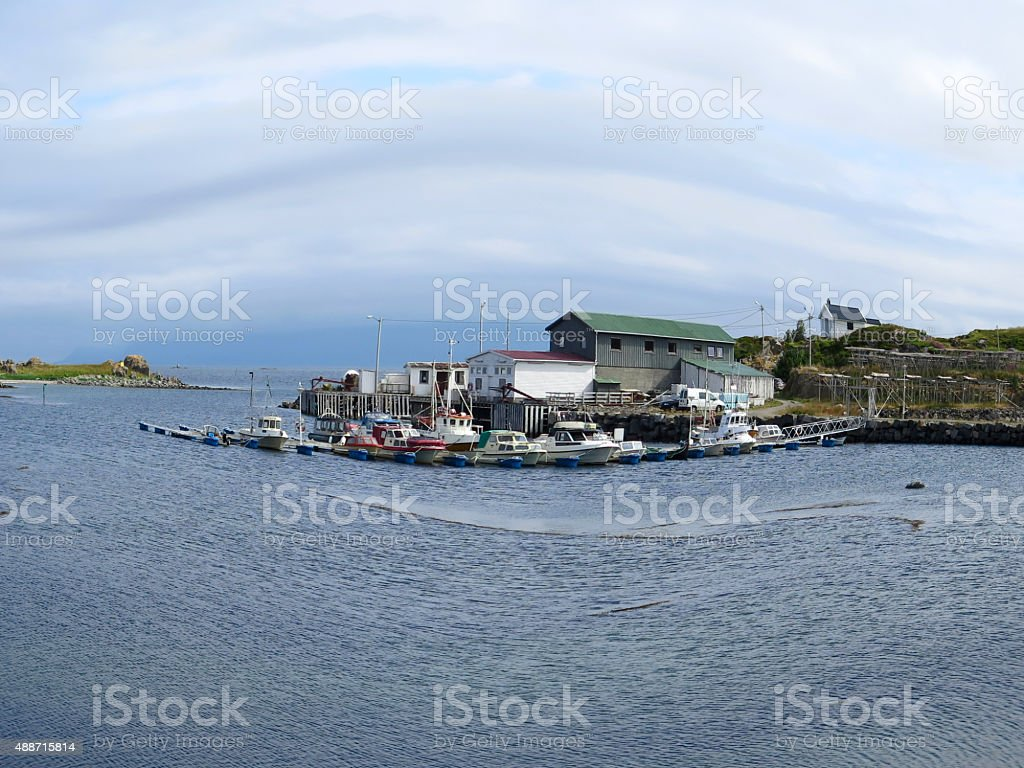 Vestvagoy, boats and house stock photo