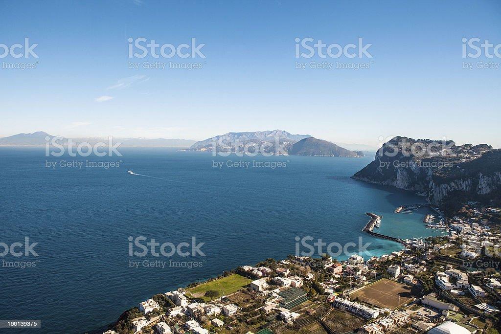 Vesuvio and Sorrento Coast Seen From Capri, Italy. royalty-free stock photo