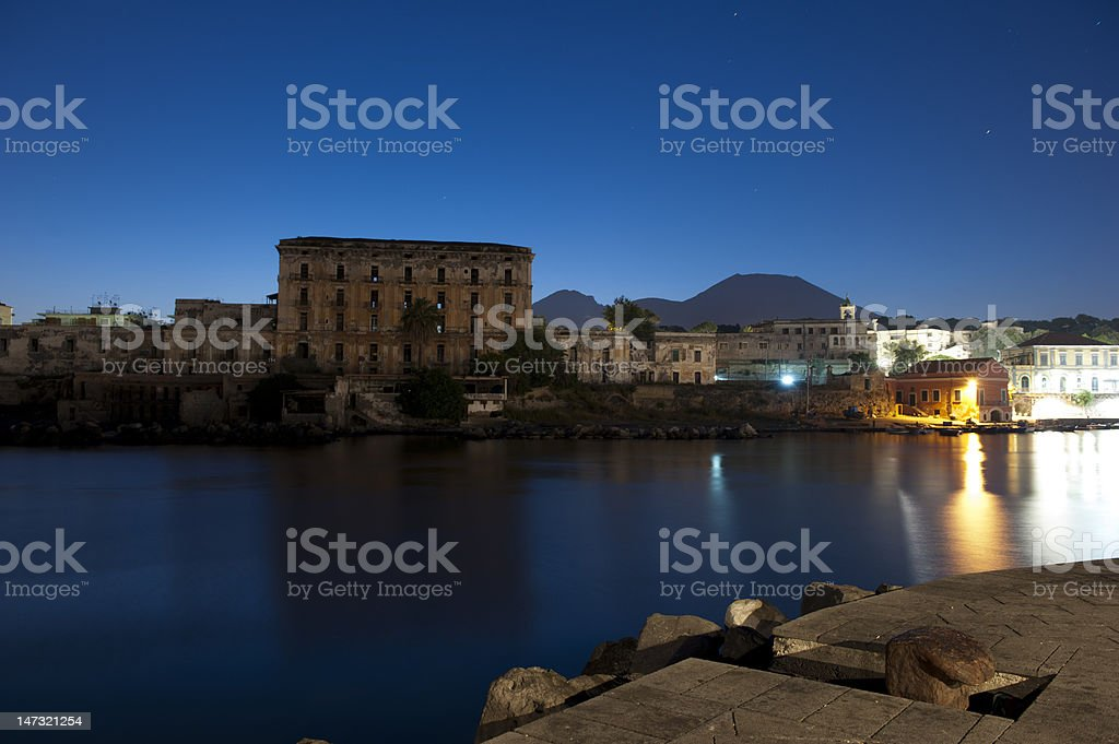 Vesuvius from the port Granatello of Portici royalty-free stock photo
