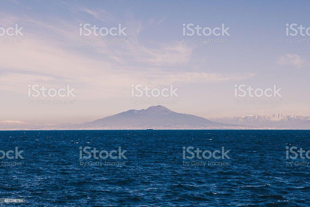 Vesuvius Seen From Capri Harbor stock photo