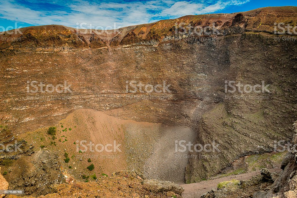Vesuvius volcano crater next to Naples in a outum day stock photo