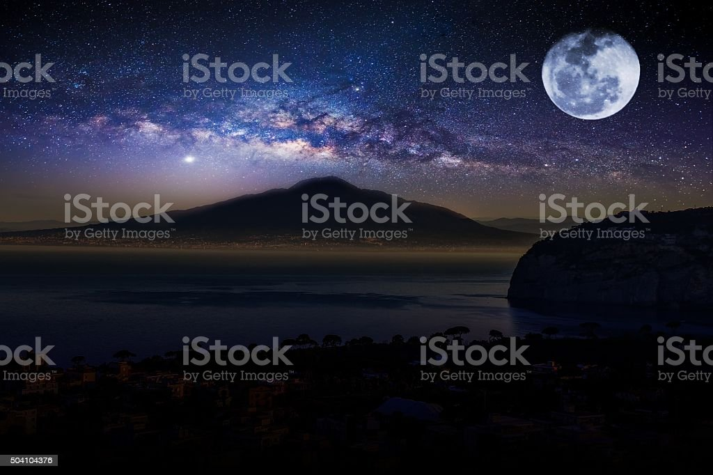 Vesuvius Volcano from Sorrento, South Italy stock photo