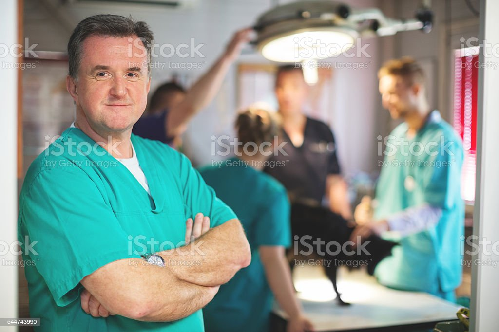 Vet getting ready for surgery stock photo