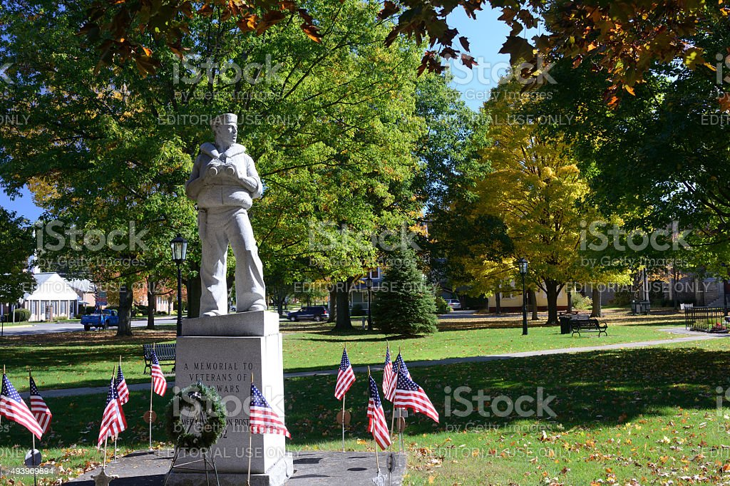 Veteran Memorial in Municipal Park of Wellsboro stock photo