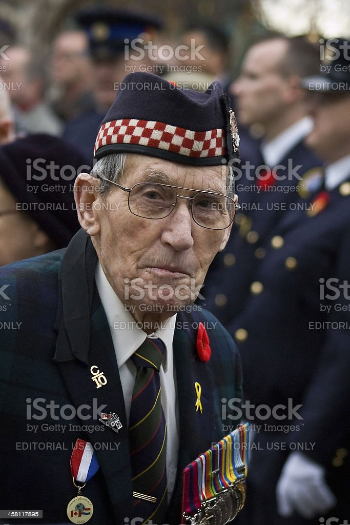 Veteran observing Remembrance day ceremonies stock photo