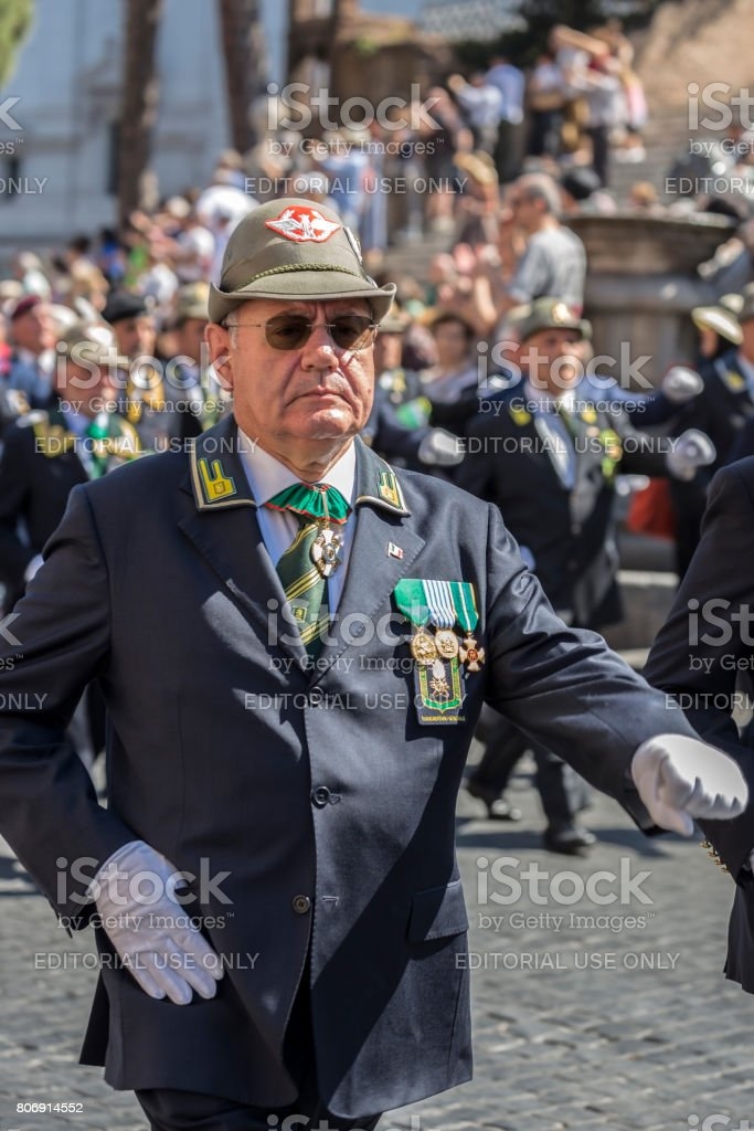 Veteran participating at military parade of Italian National Day stock photo