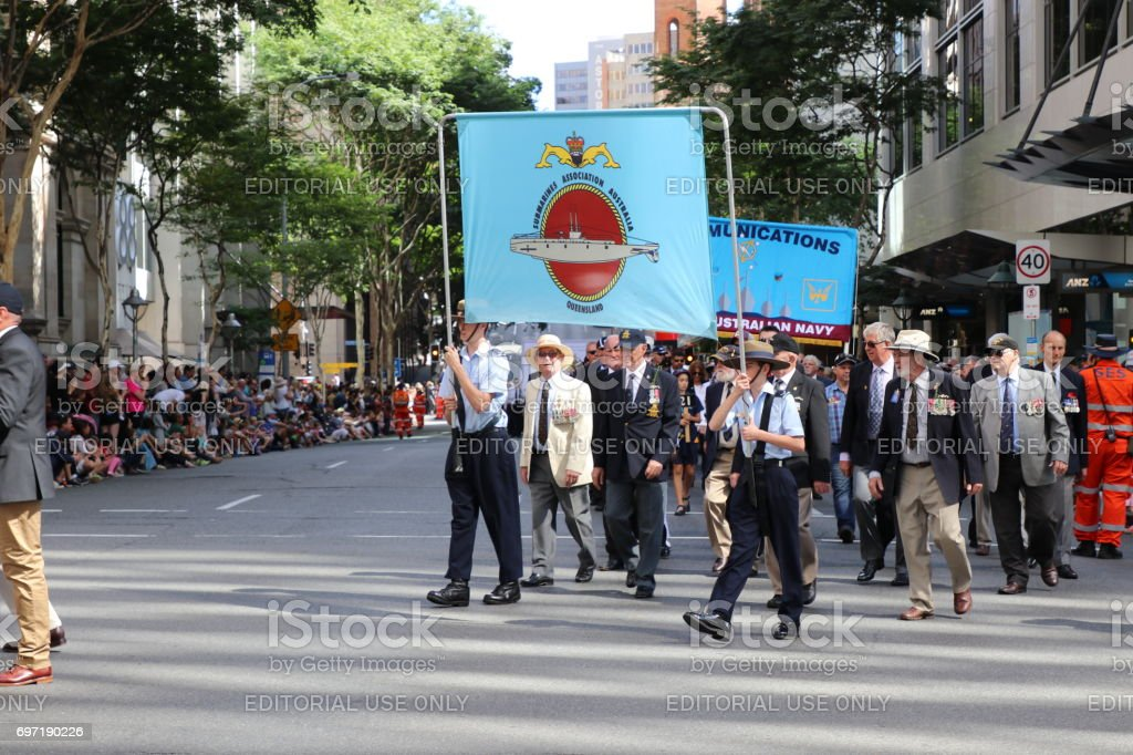 Veteran soldiers marching stock photo