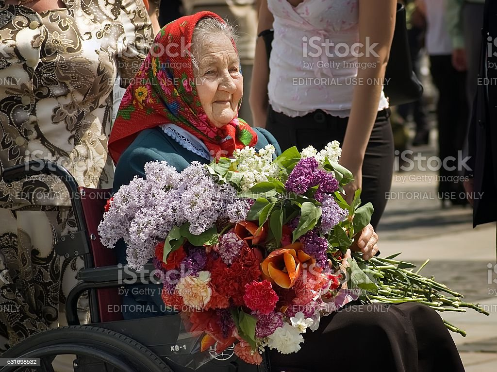 Veteran woman during Victory Day celebration stock photo