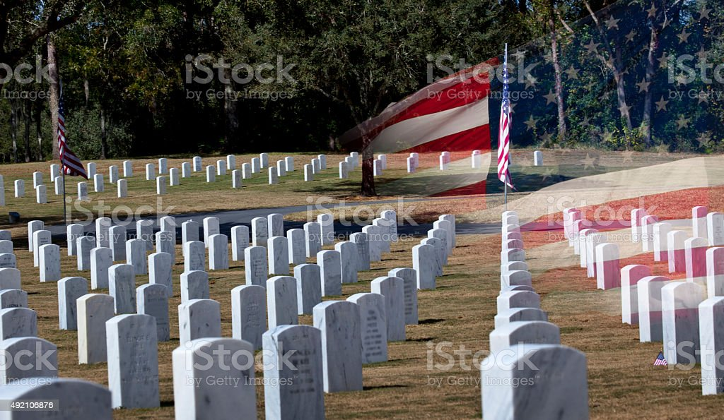 Veterans Cemetery on Veterans Day stock photo