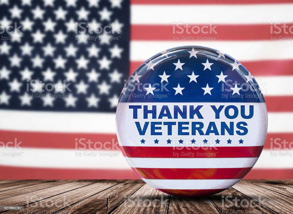 veterans day badge button stock photo