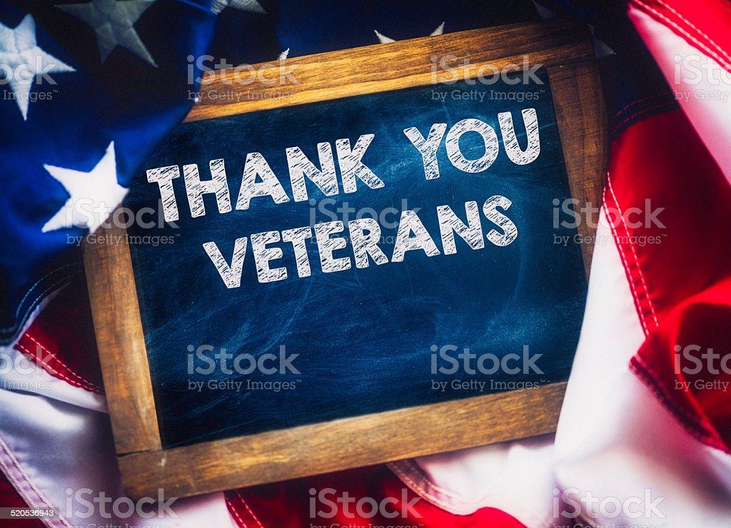 Veterans Day Message. Thank you Veterans. stock photo