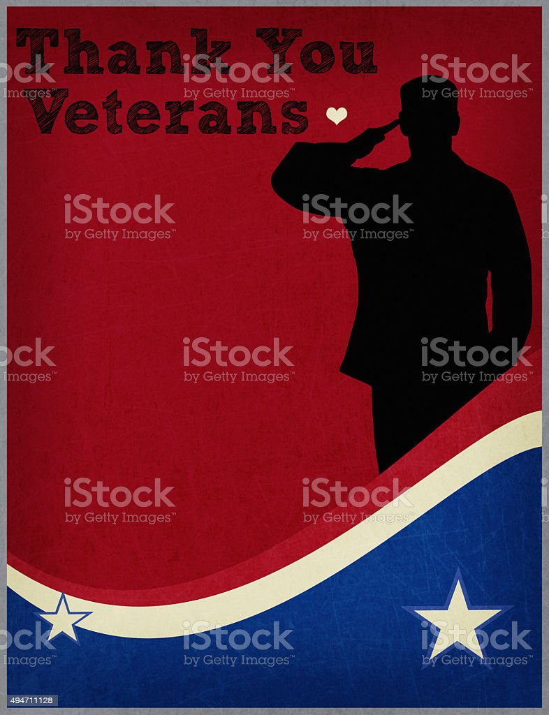 Veterans Day message with soldier. Thank you Veterans. stock photo