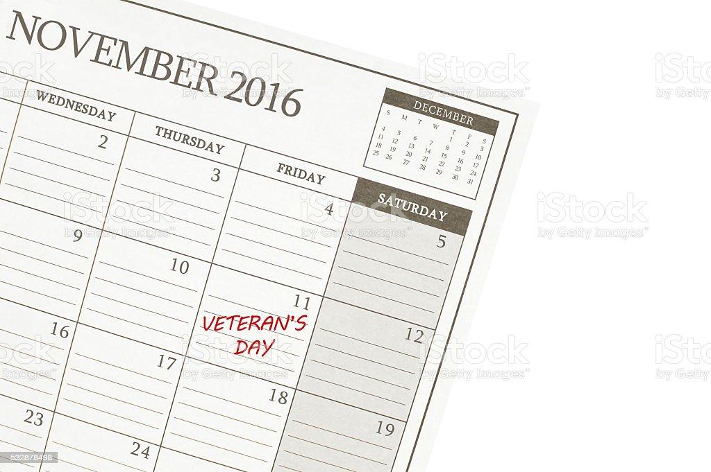 Veteran's Day November Calendar stock photo