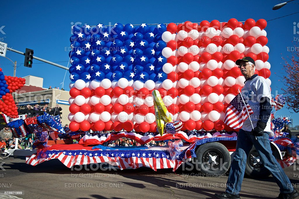 Veterans Day Parade Albany Oregon Balloon Flag Hewlett Packard float stock photo