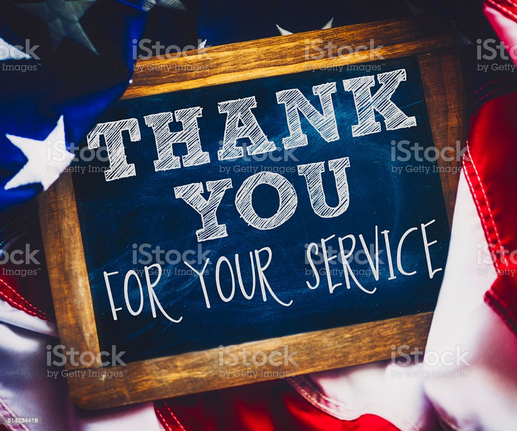 Veterans Day thank you to military veterans for their service stock photo