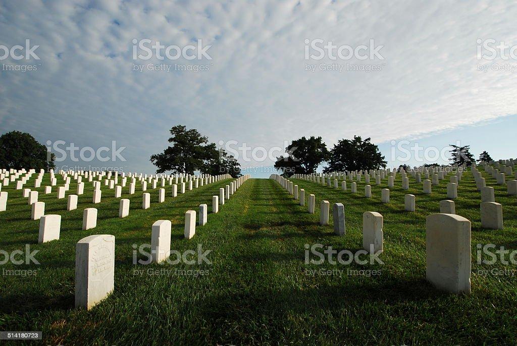 Veteran's grave stones stock photo