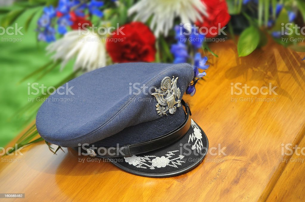 WWII Veteran's Hat on Coffin stock photo