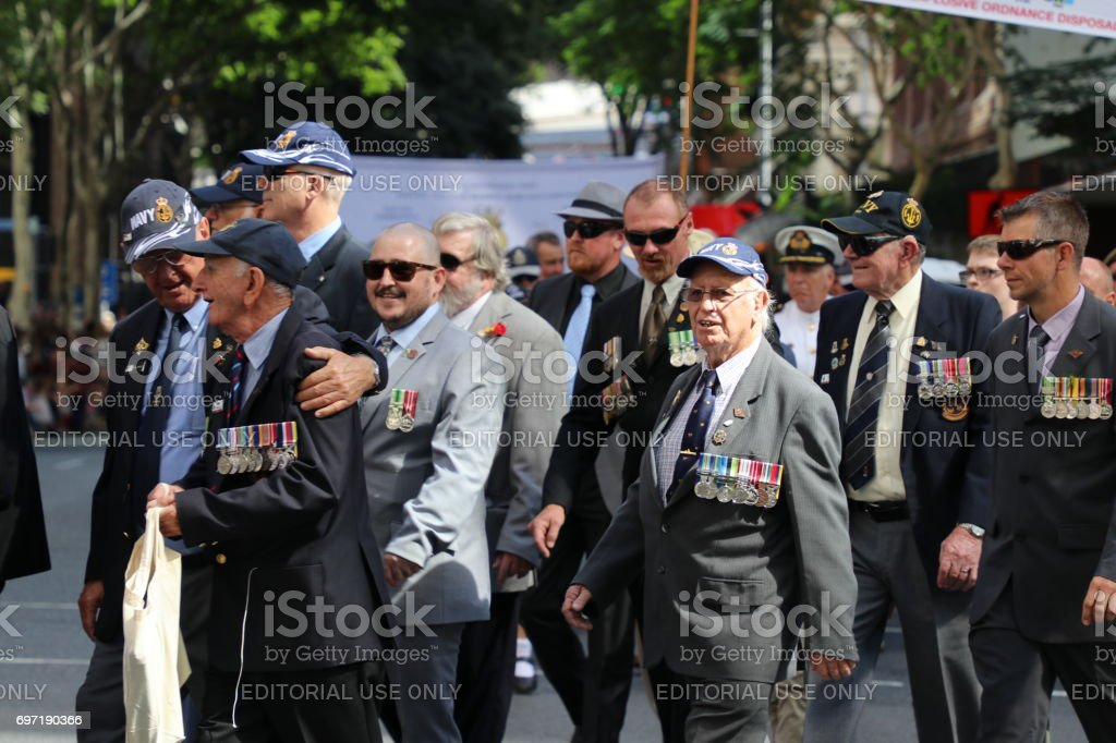 Veterans marching stock photo
