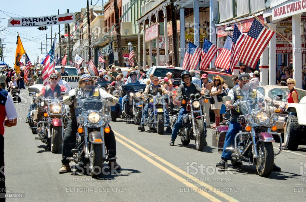 Veterans on Motorcycles, Fourth of July Parade, Virginia City, NV. stock photo