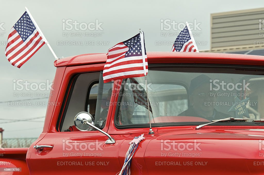 Veterans Parade The Dalles Oregon Classic Red Chevrolet Pickup Cab stock photo
