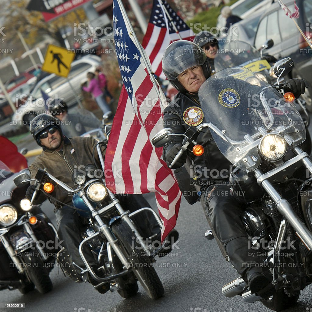 Veterans Parade The Dalles Oregon Group of Motorcycles with Flags stock photo