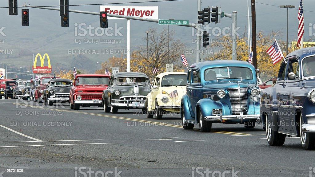 Veterans Parade The Dalles Oregon Line of Classic Cars stock photo