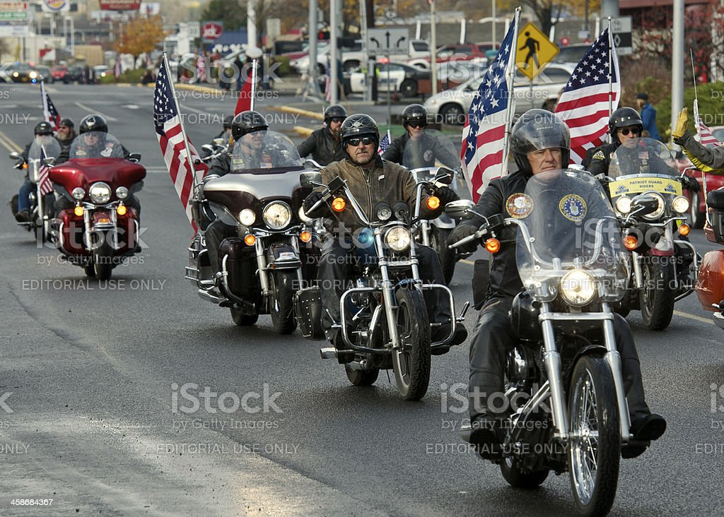 Veterans Parade The Dalles Oregon Line of Motorcycles with Flags stock photo