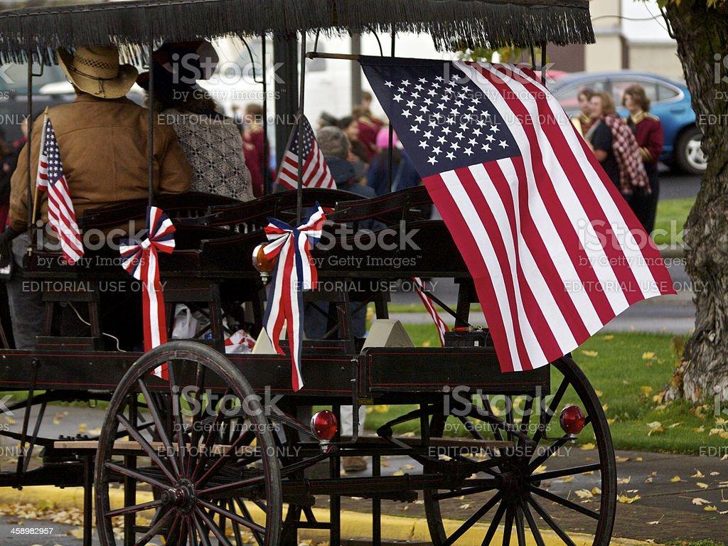 Veterans Parade The Dalles Oregon USA Flags Carriage stock photo