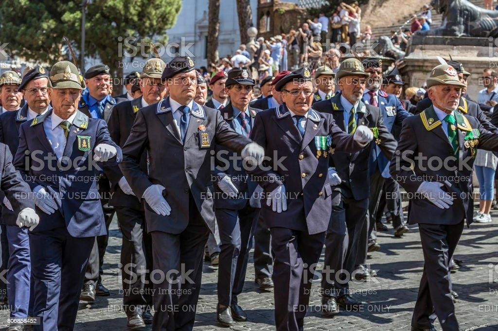 Veterans participating at military parade of Italian National Day stock photo