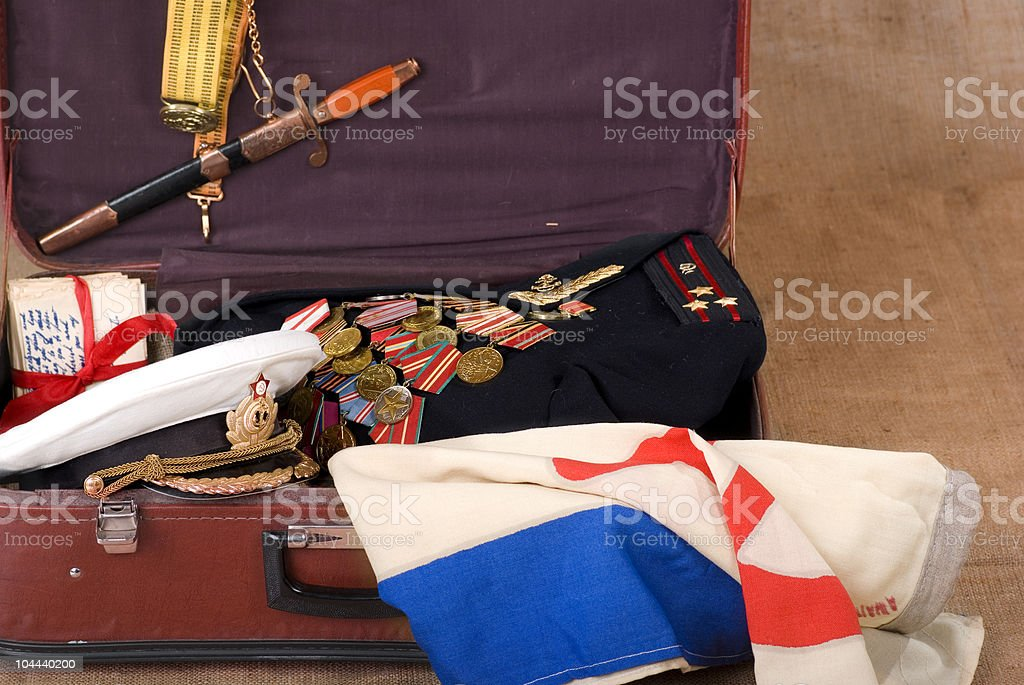 Veteran's suitcase royalty-free stock photo