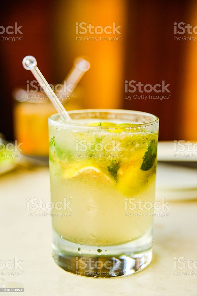 Vetical, Close Up Shot of a Mojito in a Glass stock photo