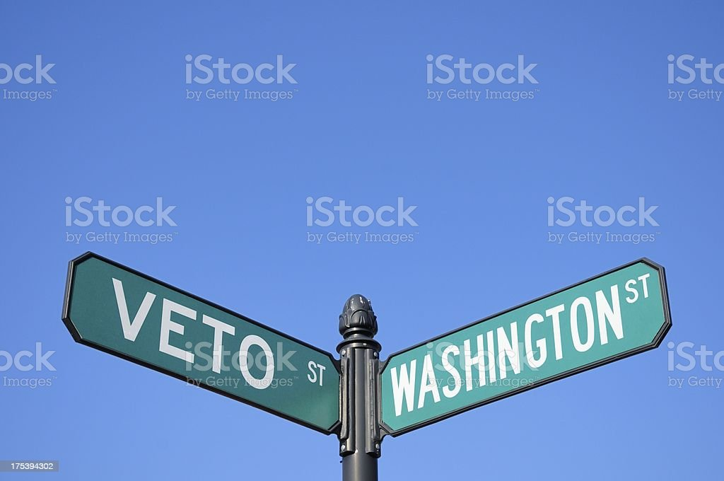 Veto and washington street signs royalty-free stock photo