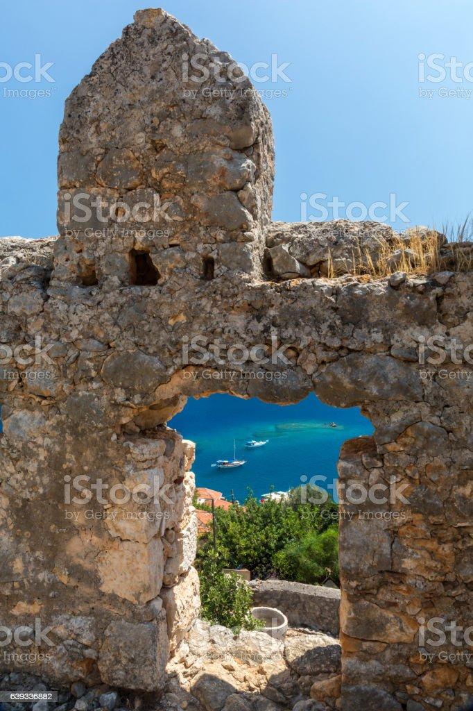 Vew from castle of Kalekoy, Antalya stock photo