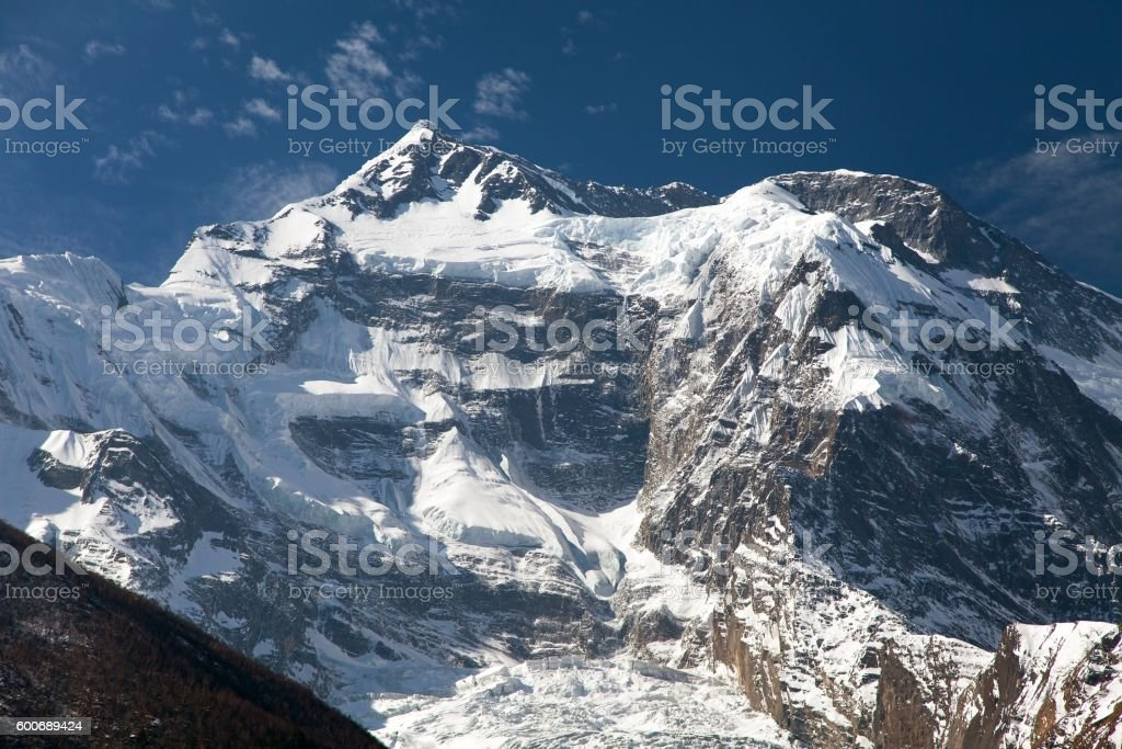 Vew of top Annapurna 2 II from Upper Pisang stock photo