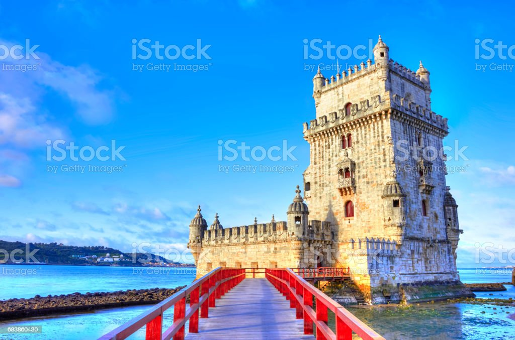Vew on Belem Tower on the bank of Tagus River stock photo
