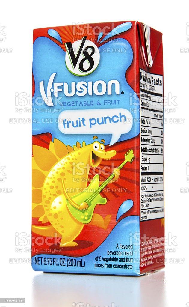 V8 vfusion vegetable and fruit punch stock photo