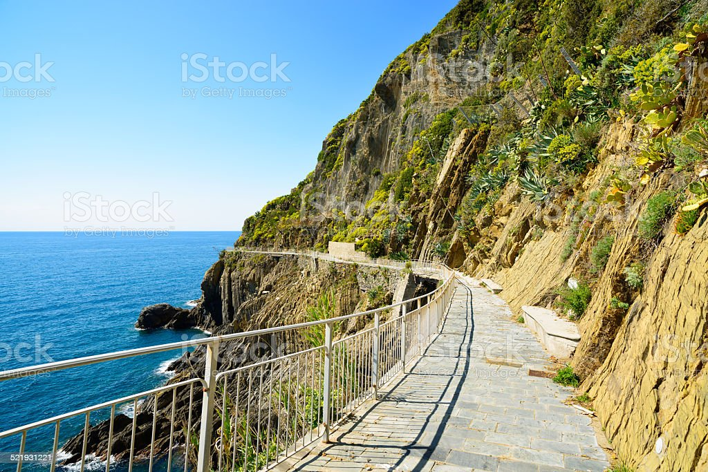 Via  Amore, The Way of Love, pedestrian street. Cinque Terre stock photo