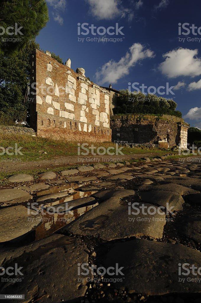 Via Appia Antica in Casal Rotondo royalty-free stock photo