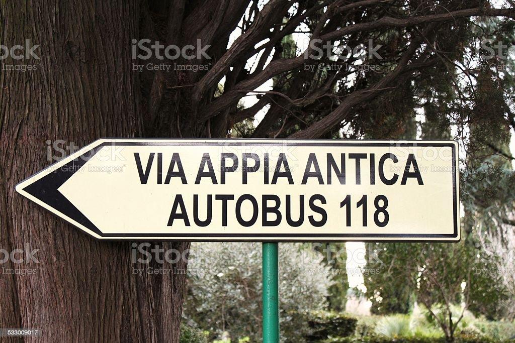 Via Appia Antica sign in Catacombe di S. Callisto park stock photo