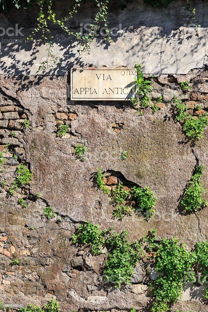 Via Appia Sign stock photo