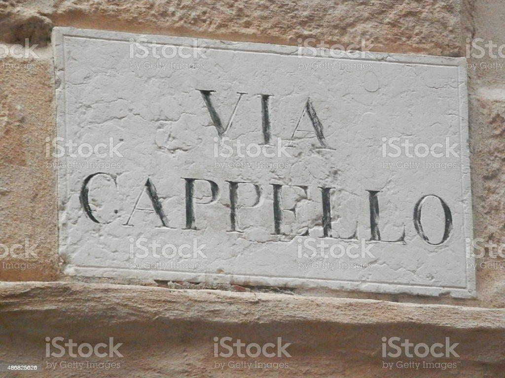 Via Cappello, Juliet's street stock photo