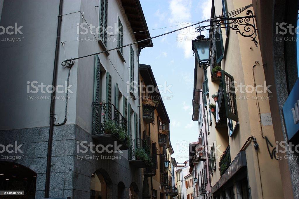 Via Cavour shopping street in Arona, Piedmont Italy stock photo