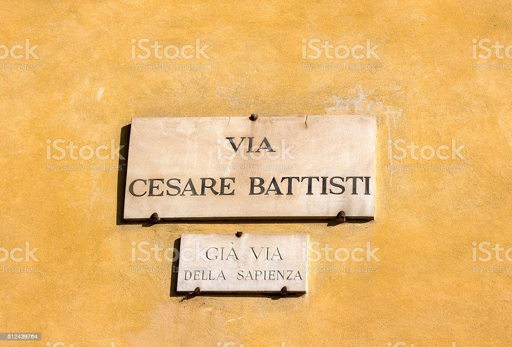 via Cesare Battisti, street plate on a house in Florence stock photo