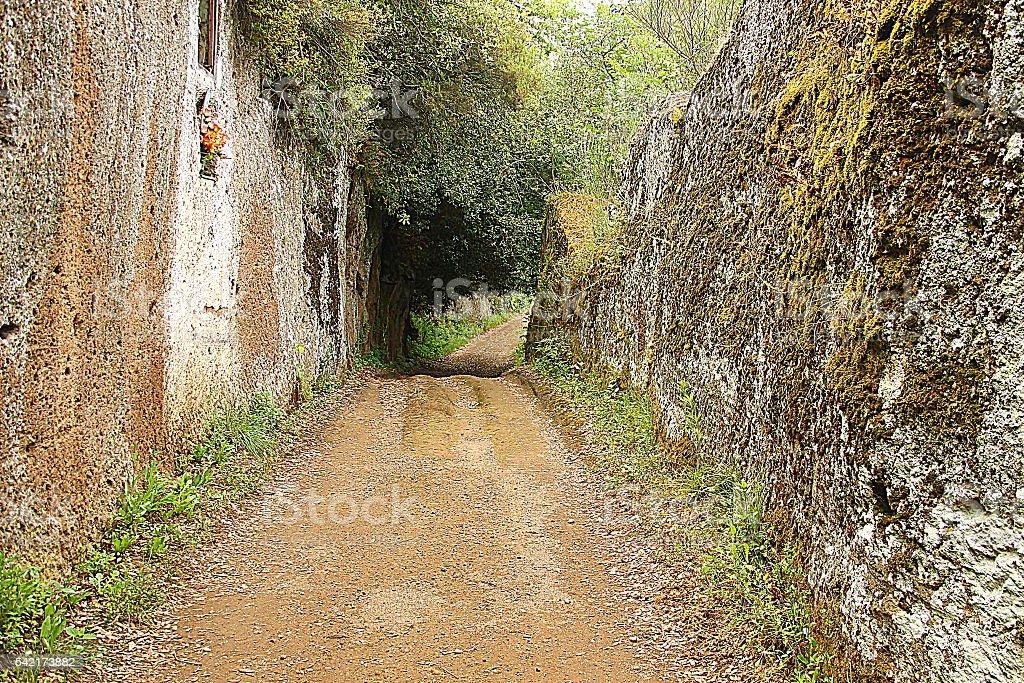 Via Clodia in the countryside near Blera, Italy stock photo