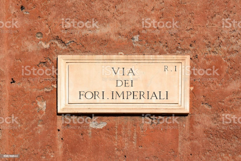 Via dei Fori Imperiali, street plate on wall in Rome stock photo
