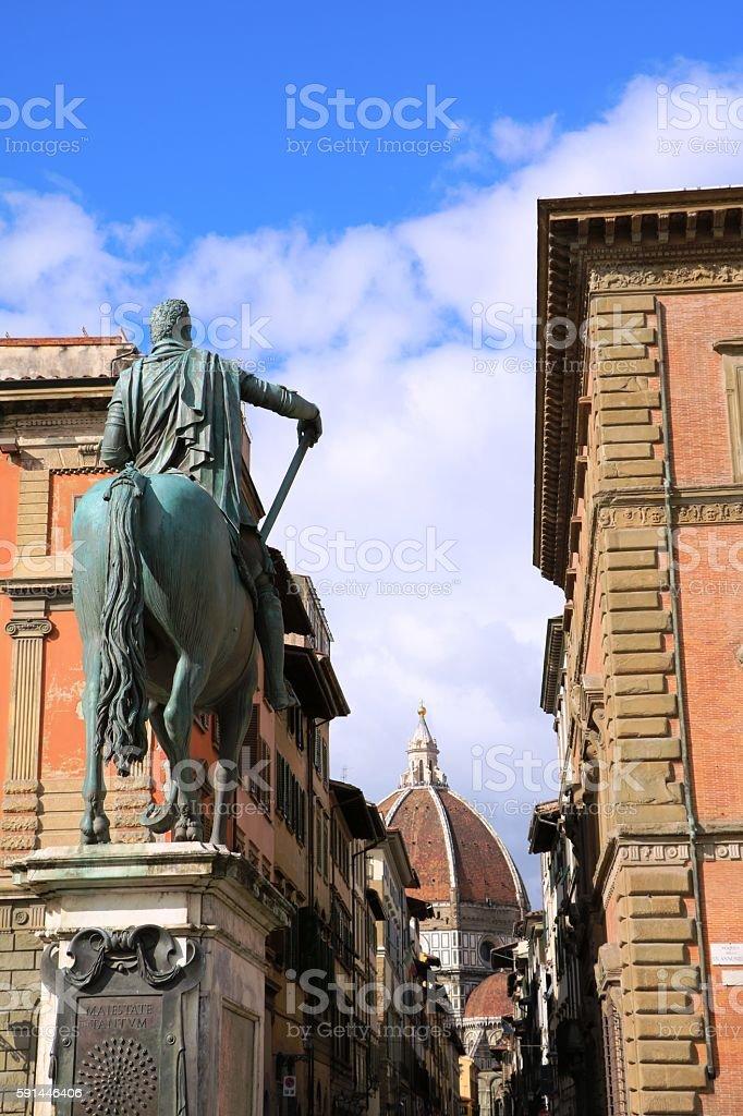 Via dei Servi view to Santa Maria del Fiore, Florence stock photo