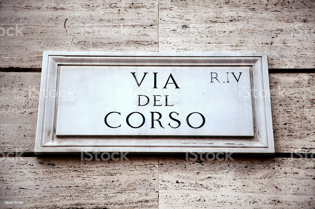 Via del Corso in Rome, Italy stock photo