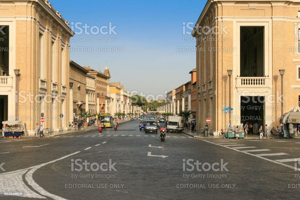 Via della Conciliazione seen from St. Peter's Square, Vatican City, Rome, Italy. stock photo