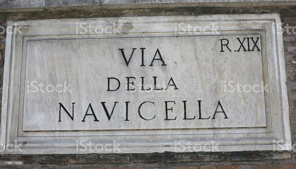 Via Della Navicella sign royalty-free stock photo